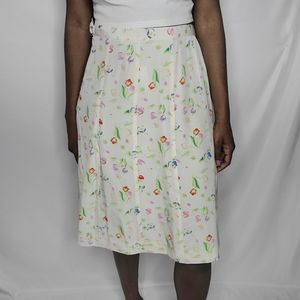 Vann Vintage Floral Print Skirt